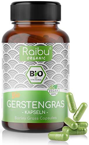 Raibu® BIO Gerstengras Kapseln - Einführungspreis I 180 Kapseln I Hochdosiert mit 3000mg pro Tagesdosis I In Deutschland hergestellt I Gerstengraskapseln