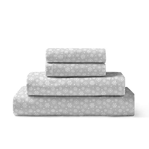 Brielle 100-Percent Cotton Flannel Sheet Set, Twin, Snowflake Lunar Grey