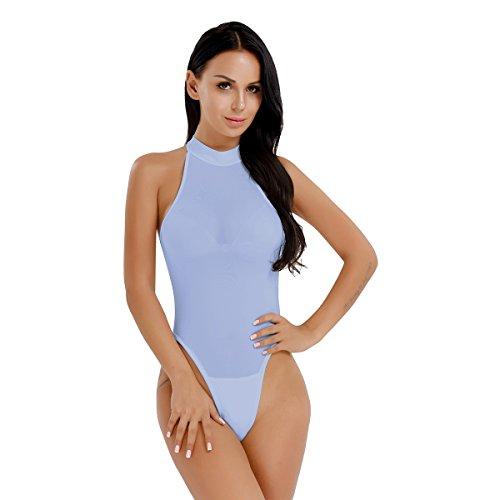 YiZYiF Transparent Body Bodysuit Dessous Damen Neckholder Tops Overalls Negligee Babydoll Reizwäsche Lingerie mit Öffener Schritt Hellblau One Size