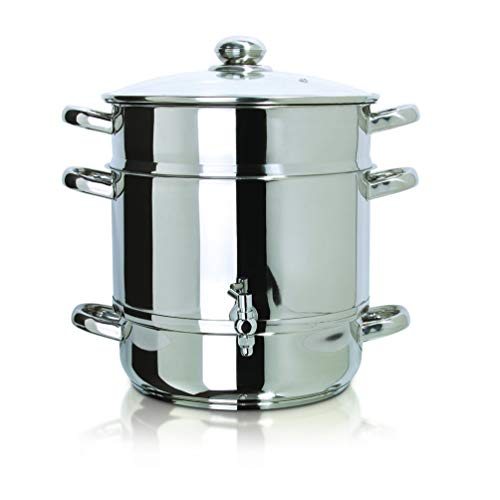 Stainless Steel Stove Top Steam Juicer Silver Metal