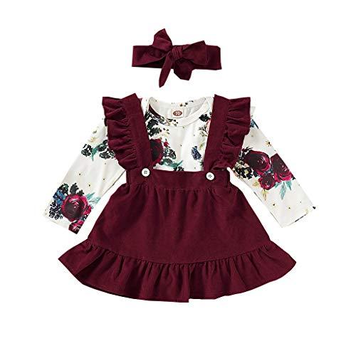 Kleinkind Kleidung Set Baby Mädchen Babybody Gurt Rock Stirnband Anzug Bekleidungsset Langarm Floral Strampler Strumpf Röcke Outfits Set, Weinrot, 0-3 Monate