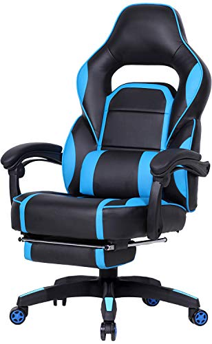 Big and Tall Gaming Chair High Back PU Leather PC Racing Computer Desk Office Executive Swivel Recliner with Retractable Footrest and Adjustable Lumbar Support, Blue/Black black chair gaming