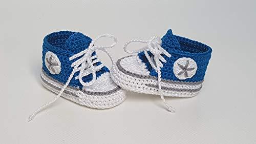 Babyschuhe gehäkelt-Sneakers-blau/grau-Turnschuhe-Sportschuhe-Krabbelschuhe