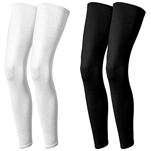 2 Pairs Compression Leg Sleeves Sports UV Protection Long Leg Sleeves Men and Women for Outdoor Sports Runners, Cycling, Hiking (2X-Large, black and white)
