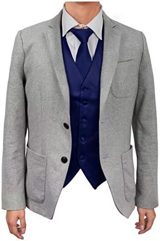 Dan Smith DGEE0007 XL Dark Blue Plain Microfiber Beautiful Waistcoat Satin Friendship Designer product image