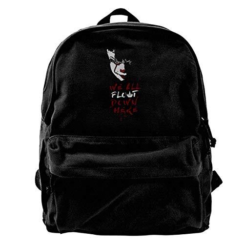 Yuanmeiju Canvas Rucksack Classic Thriller Horror Movie Stephen King's It 2017 Clown Joker Pennywise Graphic Rucksack Gym Hiking Laptop Shoulder Bag Daypack for Men Women