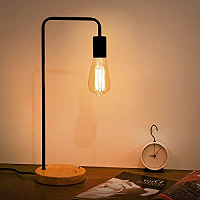 Kohree Industrial Table Lamp, Vintage Table Lamp Dimmable Night Stand Desk Lamp for Bedroom, Living Room, Office, Coffee Shop, Dorm (Without Bulb), Black
