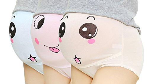 Baumwolle Whisper, Schwangerschafts-Bauc-Band, mit Smiley-Druck, 3er-Pack, Gr. 3XL/ Herstellergröße- 4XL, mehrfarbig