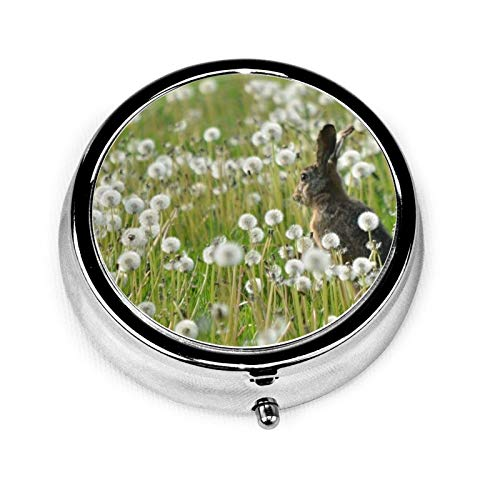 3 Compartment Pill Box Rabbit Grass Flowers Dandelion Field Luxury Travel Kit Storage Metal Round Silver Button Pill Dispenser Vitamins Fish Oil Supplements