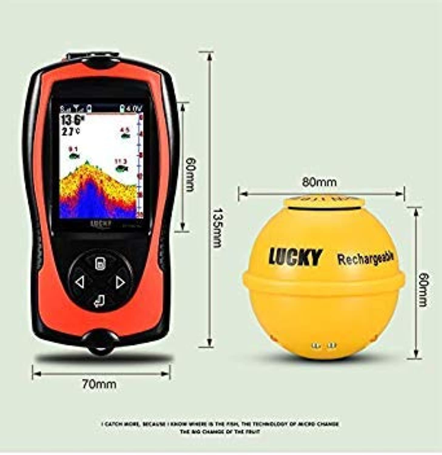 GEOPONICS Deeper Wireless Sonar Fish Finder FF11081CWLA Fish Finder with color Display Pesce Bite Alarms forOcean Waterproof Fishing color with Fish Finder
