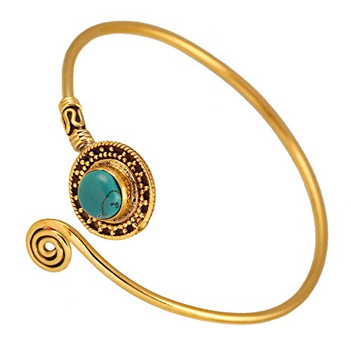 Chic-Net Messing Armreif antik golden türkis Stein Maserung schwarz Spirale verstellbar antik Tribal Schmuck