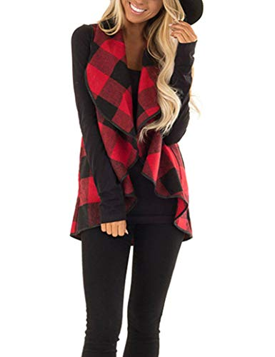 Unidear Womens Sleeveless Lapel Open Front Irregular Hem Plaid Vest Cardigan Jacket with Pockets #2Red XL