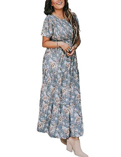 Zattcas Womens Maxi Dress Summer Long Casual Bohemian Short Sleeve Floral Dress Lavender X-Large