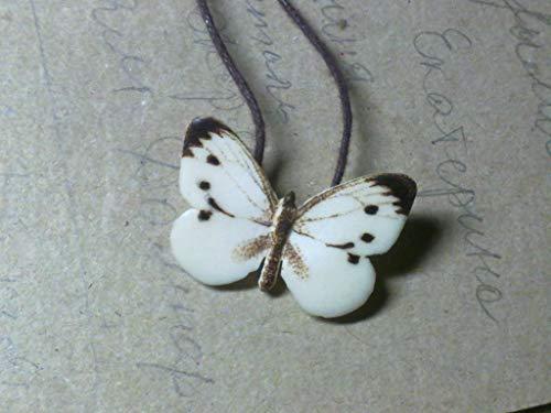Butterfly Pieris brassicae insect Necklace,organic pendant,Unusual talisman,hypoallergenic...