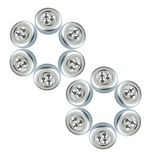 Chao Zan Lot de 12 Stick&Push LED Touch Lampe de chevet à piles autocollantes pour lampes de cuisine Blanc