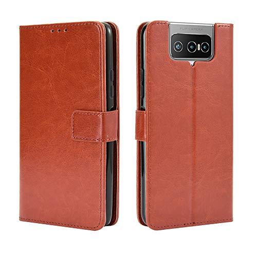 Lederhülle für Asus Zenfone 7 Pro ZS671KS Hülle, Flip Hülle Schutzhülle Handy mit Kartenfach Stand & Magnet Funktion als Brieftasche, Tasche Cover Etui Handyhülle für Zenfone 7 Pro ZS671KS, Brown