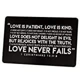 Love Is Patient 1 Corinthians 13:4-8 Engraved Card for Wallet with Burlap Gift Pouch - Wedding Day or Anniversary Gift Idea