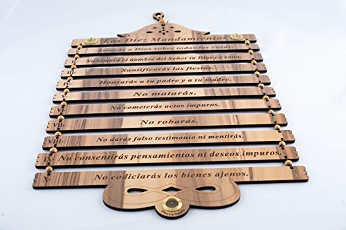 Olive Wood Gifts Shop Handcrafted 'The Ten Commandments' Plaque (19.5 Inch/Spanish) KJV (Exodus 20:1-17), Wall Hanging Art Décor with Laser Engraving on Wooden Blocks, from The Holy Land