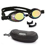 BEZZEE PRO Kinder Schwimmbrille rutschfest Lecksicher Silikon-Kopfriemen Gespiegelte Farbige Linse fr Kind Taucherbrille Beinhaltet Einstellbarer Nasensteg und eine Attraktive Tragetasche