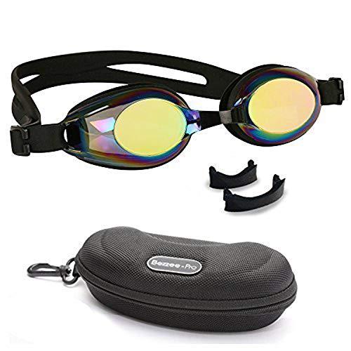 BEZZEE PRO Kinder Schwimmbrille rutschfest Lecksicher Silikon-Kopfriemen Gespiegelte Farbige Linse für Kind Taucherbrille Beinhaltet Einstellbarer Nasensteg und eine Attraktive Tragetasche