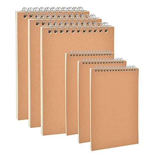 Bloc de Notas Espiral A5 A6, Pack de 6 Cuaderno de notas...