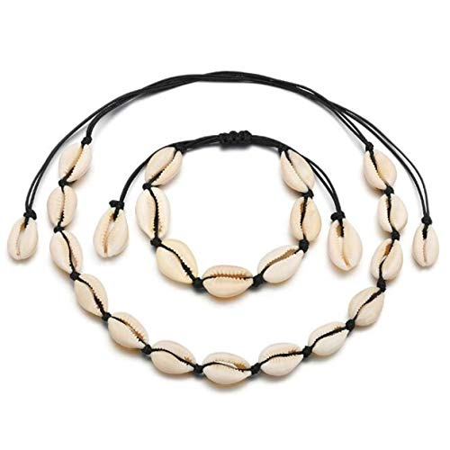 Beach Cowrie EJY Shell Choker Necklace for Women Seashell Strand Bracelets Summer Jewelry Set