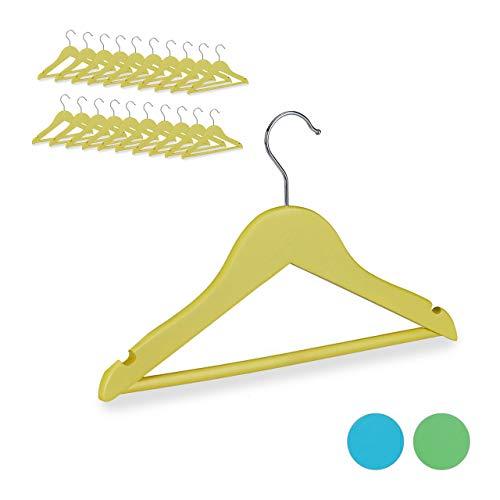 Relaxdays Kleiderbügel Kinder, 20er Set, 360° drehbarer Haken, Kerben, mit Hosenstange, Jungen & Mädchen, Holz, gelb