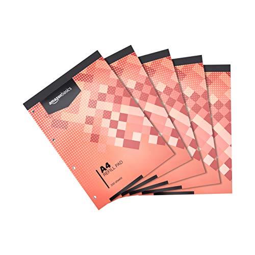 Amazon Basics - Blocco di fogli, rilegatura sul lato superiore, 400 pagine, formato A4, 70 g/m², (confezione da 5)