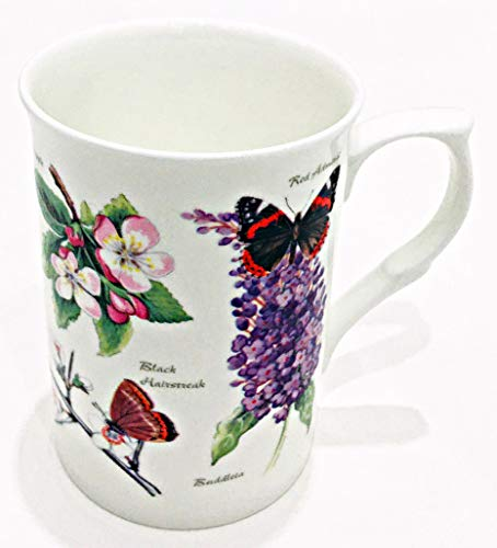 Rose of England Fine Bone China Botanical Floral Mug/Cup with Butterflies | For Coffee, Tea or Latte