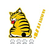 Meitinalife 3D Car Decals and Stickers Cartoon Funny Cat Moving Tail Stickers Windshield Wiper Decals Car Styling Window Wiper Decals Tags for Rear Wipers (Yellow)