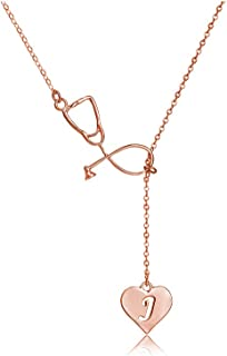Dcfywl731 Rose Gold Stethoscope Lariat Necklace 26 Initial Alphabet Letters Pendent Necklace Heart and Stethoscope Pendant for Doctor Medical Student Graduation Gift