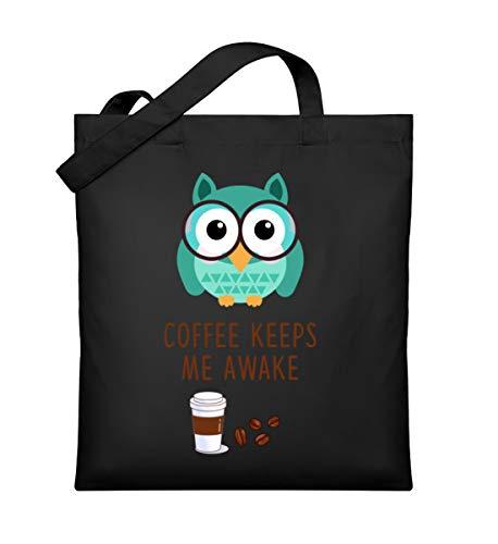 Schuhboutique Doris Finke UG (haftungsbeschränkt) Kaffee hält mich wach Eule lustig Kaffee - Organic Jutebeutel -Einheitsgröße-Schwarz