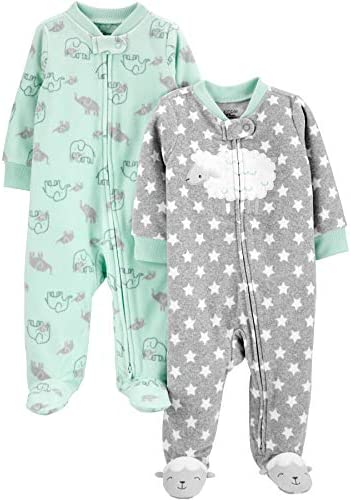 Simple Joys by Carter s Baby 2 Pack Fleece Footed Sleep and Play Little Lamb Elephant 6 9 Months product image