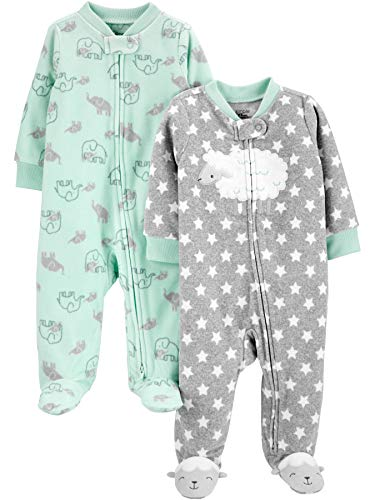 Simple Joys by Carter's 2-Pack Fleece Footed Sleep and Play para bebés y niños pequeños, Corderito/Elefante, 0-3 Meses, Pack de 2