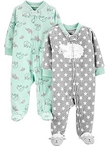 Simple Joys by Carter's 2-Pack Fleece Footed Sleep and Play para bebés y niños pequeños, Verde Menta/Gris, Elefante, 6-9 Meses, Pack de 2