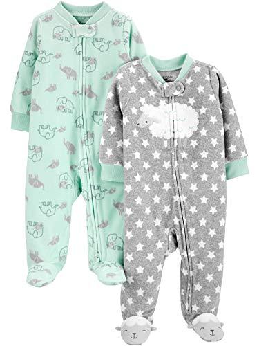Simple Joys by Carter's 2-Pack Fleece Footed Sleep And Play Bambino Sleepers, Verde Menta/Grigio, Elefante, 3-6 Mesi, Pacco da 2