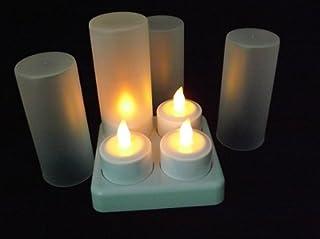LEDティーライト キャンドル 再充電可能 カップ付き 4個セット  (リモコン付, イエロー)