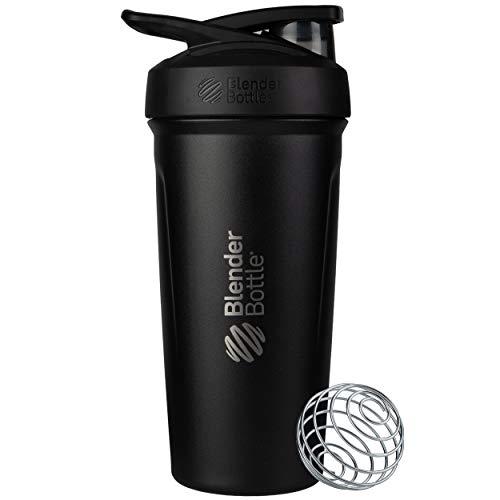 BlenderBottle Strada - Edelstahl Trinkflasche, Thermoflasche mit BlenderBall, Protein Shaker und Fitness Shaker, BPA frei, Doppelwandig, Vakuum isoliert - schwarz, 375 g