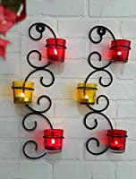 The package contains : 2 Metal Base + 6 Glass Holders + 6 Tealight Candle Product base is made of Iron and Tealight Holder is made of Glass. It give a unique and vintage look of your home, office and rooms. Hand Crafted from Iron give it beautiful fi...