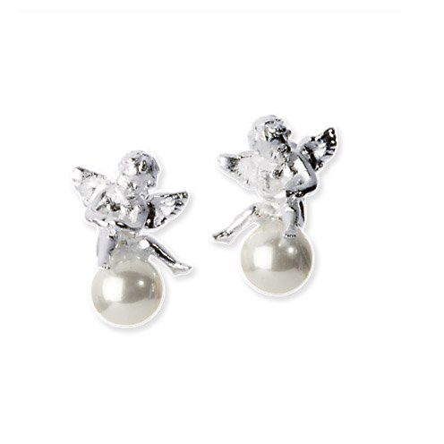Heartbreaker Luxus Engel Ohrringe in Echtsilber | Engel Ohrstecker mit weißer Muschelkernperle | Silber 925 Sterling nickelfrei