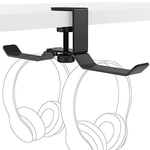 MoKo Headphone Stand, Universal Aluminum Headphone Hanger Headset Desk Holder Multifunctional Gadgets Mount with Adjustable Clamp for Beats, Sony, Sennheiser, Audio-Technica, PS5 Gaming headset, Black