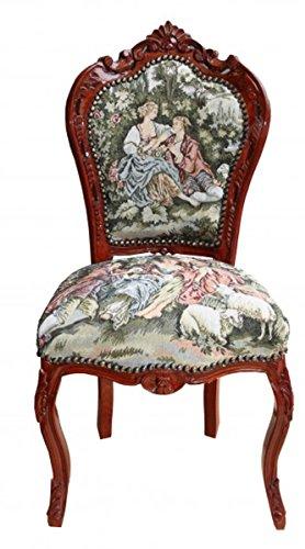 Casa Padrino Barock Esszimmer Stuhl ohne Armlehne Gobelin 'Love Story '/Braun - Antik Stil