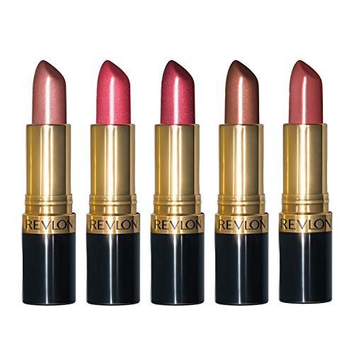 Revlon Super Lustrous Lipstick, 5 Piece Lip Kit Gift Set (420 Blushed- Pearl, 430 Softsilver Rose- Pearl, 520 Wine with Everything- Pearl, 300 Coffee Bean- Pearl, 535 Rum Raisin- Cream), 3.8 oz