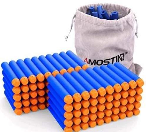 AMOSTING Refill Foam Darts Pfeile 100Pcs Bullets für Nerf N-Strike Elite Series Spielzeugpistolen mit Aufbewahrungstasche - Blau