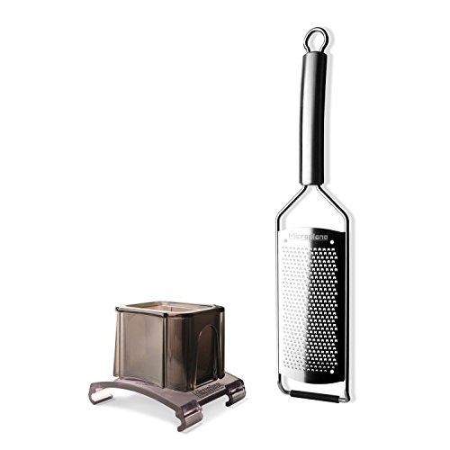 Microplane Reiben - Professional Serie 38000 - Set Küchenreibe ganz aus Edelstahl + Fingerschutz - fein/Gewürze - 38004+