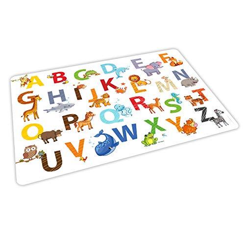 nikima – 1 place platzdeckchen Set de table Plastique Multicolore Animaux Alphabet Lettre ABC Set avec effet – – Cadeau au début Entrée scolaire école, enfants