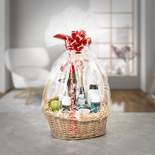 woodluv Create Your Own Round Wicker Gift Hamper Basket, Christening, Wedding, Baby Shower, Valentine day or Birthday Gift - DIY Basket Making Kit