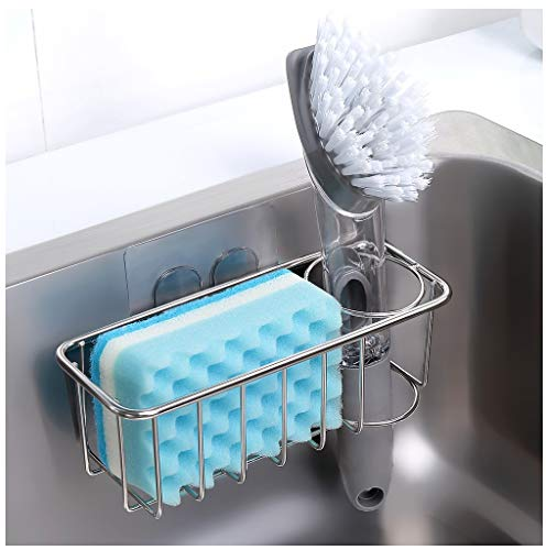 Adhesive Sponge Holder + Brush Holder, 2-in-1 Sink Caddy, SUS304 Stainless Steel Rust Proof Water...