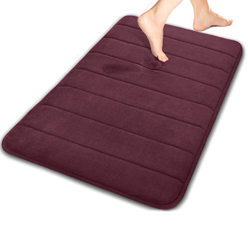 Yimobra Memory Foam Bath Mat Large Size 31.5 by 19.8 Inches, Soft and Comfortable, Super Water Absorption, Non-Slip, Thick, Machine Wash, Easier to Dry for Bathroom Floor Rug, Potent Purple