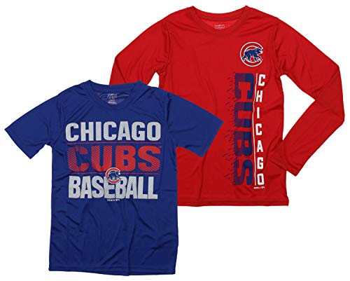OuterStuff MLB Boys Young Baseball Fan Two Performance T-Shirt Set, Chicago Cubs, Medium 10-12